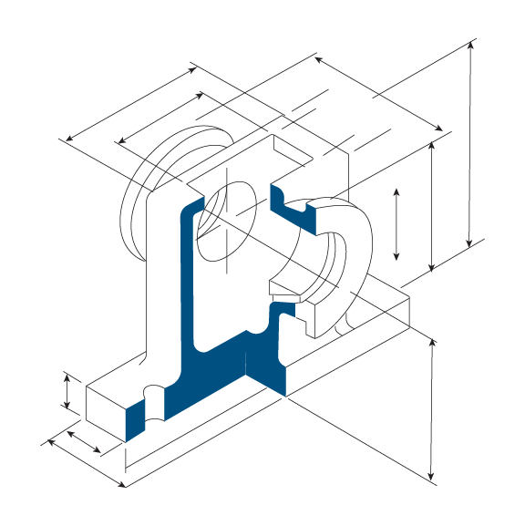 CAD drawing of a bearing